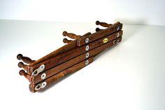 Vintage Accordion Wooden Peg Rack Wall Hooks Nevco 10 Peg Rack