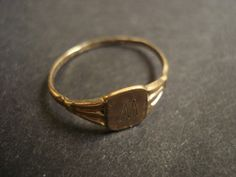 Antique Signet Ring - Gold Filled - Initial M