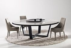 Image of Large Round Dining Tables with White Granite Table Top Under Black Ceramic Tea Cups with Grey Shaggy Carpet Contemporary Chair Upholstery and Modern Furniture Legs Black Ceramic Tea Cups Marble Top Dining Table, Dining Table Design, Dining Table In Kitchen, Dining Rooms, Large Round Dining Table, Esstisch Design, Dining Room Inspiration, Table Furniture, Furniture Legs