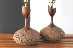 Mid Century Danish Modern Sculptural Solid Teak and Cork Table Lamps AMAZING
