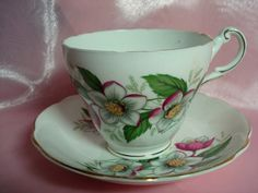 Vintage Teacup Regency Christmas Rose Tea Cup and Saucer Bone China England Shabby Chic