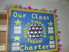 rights respecting schools display Class Displays, School Displays, Classroom Displays, Class Charter Ks2, School Council Ideas, Student Council, Classroom Charter, Rights Respecting Schools, Ks1 Classroom