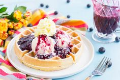 sugarandsoul.co - Rebecca      Although this post is sponsored by Nature's Touch™ Frozen Foods, all opinions are my own. Belgian Waffles with Mango Blueberry Compote are a flavorful and fun brunch dis