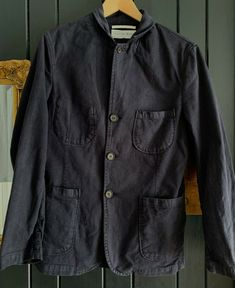 Universal Works Men's cotton twill Jacket dark blue Small P2P 20 inch #universalworks #reclaimedclothing #mensjackets #mensfashion #slowfashion #clothing #clothingbrands #suitjacket #chorejacket #twill  Visit our ebay page and see all our reclaimed men's clothes.