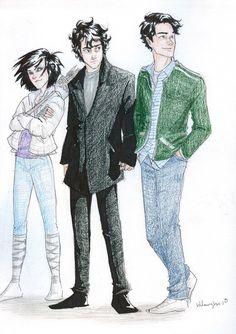 Burdge Bug PJ art: Thalia, Nico, and, Percy cousins forever