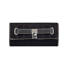 """Wallets, Checkbooks and Holders. A classic checkbook wallet with magnetic snap closure and funky strap and lock detail. 14 credit card slots ID window Bill holder Back pocket 7"""" x 4"""" Imported"""