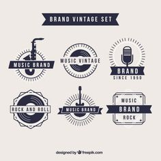 "A vintage style set of music themed logos. Perhaps I could look into ""stamp"" design for inspiration, as to me, River City Sound Sessions has that rustic feel to it, which I think pairs nicely with vintage logos."