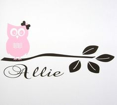 Girl Owl Sitting on Branch plus Name  Vinyl by santasgiftshoppe, $11.95  Over our lil owls crib
