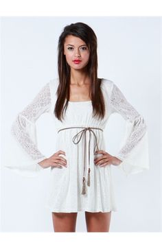 Crochet Peasant Dress With Belt