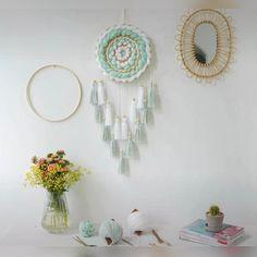 Diy Crafts For Home Decor, Diy Crafts Hacks, Diy Crafts For Gifts, Diy Arts And Crafts, Diy Wall Art, Diy Wall Decor, Wall Hanging Crafts, Dream Catcher Decor, Diy Dream Catcher For Kids
