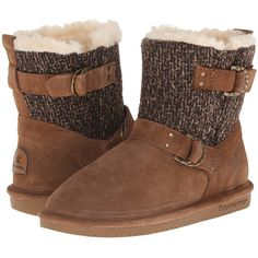 Bearpaw Nova (Hickory) Women's Shoes ($75) ❤ liked on Polyvore featuring shoes, boots, brown, bearpaw boots, cold weather boots, leather boots, pull on boots and leather buckle boots