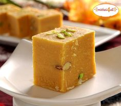 Kesar Mohanthal is a very famous #gujarati #sweet. Ahmedabad's Kandoi Bhogilal Mulchand serves the best Mohanthal. Order it today and get it delivered anywhere in India, USA, Canada and UK.  bit.ly/sendmithaionline #Indian #Mithai #Namkeen #Mohanthal #Besan