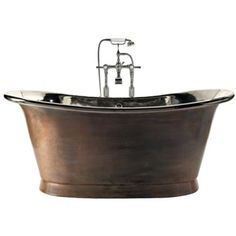 Fritstående badekar med patineret kobber og nikkel