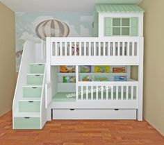 Behind the House Bunk Bed - Decor Home Bunk Bed Crib, House Bunk Bed, Toddler Bunk Beds, Bunk Bed Rooms, Toddler Rooms, Kid Beds, Childrens Room, Cool Kids Bedrooms, Kids Bedroom Designs