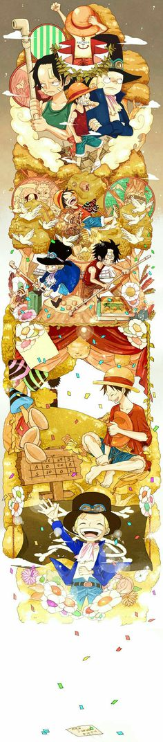 Happy Birthday Sabo, cute, Ace, Luffy, Sabo, brothers, young, childhood, different ages, time lapse, timeline, confetti, letter; One Piece