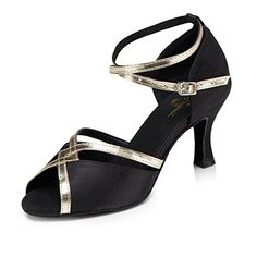 CRC Womens Stylish Peep Toe Black Satin Ballroom Morden Salsa Latin Party Wedding Professional Dance Sandals 7 M US *** You can get more details by clicking on the image.(This is an Amazon affiliate link)