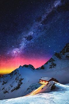 Generic Snow Mountain Chalet Aurora Milky Way Stars Scenic Nature Hard Case for galaxy note 3 pc White Beautiful Sky, Beautiful Places, Beautiful Pictures, Stunning View, Milky Way Stars, Landscape Photography, Nature Photography, Night Photography, Color Photography