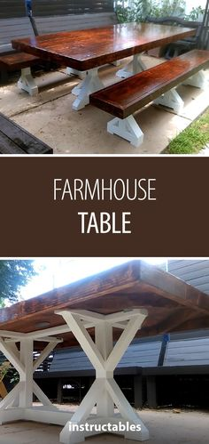 Stylish farmhouse table with matching benches #woodworking #workshop #furniture #rustic #woodworkingbench