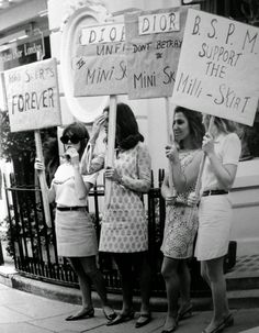 Girls from the British Society for the Protection of Mini Skirts stage a protest outside the House of Dior, for its 'unfair' treatment of mini skirts