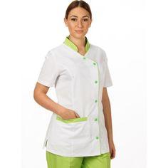 Chaqueta sanitaria chica - Magasa Spa Uniform, Hotel Uniform, Scrubs Uniform, Maid Uniform, Big Size Dress, Lab Coats, Medical Uniforms, Uniform Design, Scrub Sets