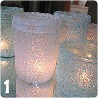 Mason Jars and Epsom Salt . SO gorgeous for winter decoration.