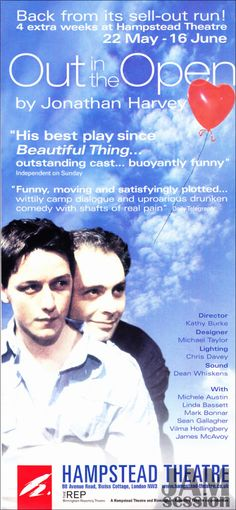 Out in the Open - Flyer for the play at Hamstead Theater in London in Spring or 2001 with James McAvoy performing as Iggy.  Original copy owned by JAMsessionMB
