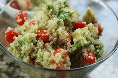 Healthy and quick quinoa, avocado and tomato salad