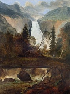 Peder Balke Painting - The Rjukan Falls by MotionAge Designs Arte Tribal, Russian Painting, Autumn Painting, Framed Prints, Art Prints, Mountain Landscape, Installation Art, Cool Artwork, Art History