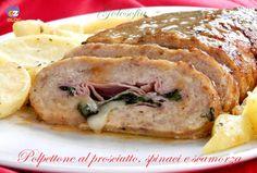Polpettone al prosciutto, spinaci e scamorza, morbido, saporito, buonissimo! un piatto ghiotto, perfetto per i grandi pranzi di famiglia!