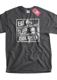 Eat Sleep Code V3 programmer T-Shirt Code Cartoon Geek Computer Gifts for Dad Screen Printed T-Shirt Tee Shirt T Shirt Mens Ladies Womens by IceCreamTees on Etsy https://www.etsy.com/listing/126019987/eat-sleep-code-v3-programmer-t-shirt
