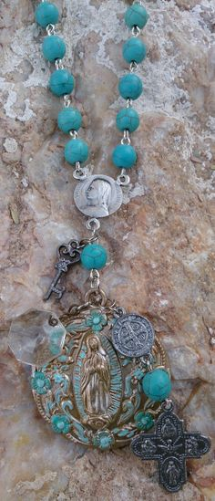 Turquoise Rosary Cross Religious Necklace   Patina Necklace $48.00  www.etsy.com/shop/secretstashboutique