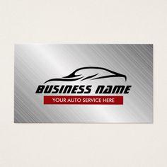 Auto Repair Cool Car Shape Metallic Automotive Business Card