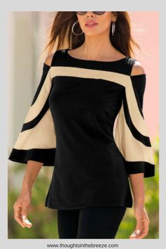 $17.00 Open Shoulder Round Neck Patchwork Bell Sleeve Blouses. Luvyle is having a huge sale on many classy chic tops, their stylish spring/summer collection is filled with trendy tops perfect for any occasion. These are perfect for a capsule wardrobe, party, date night, or a casual day. They have camisoles, sleeveless tops, t-shirts, loose blouses, dressy tops, cute tops and more. #classy, #classytops, #trendy, #trendytops, #camisoles, #style, #fashion, #shopnow, #affiliate, #teens