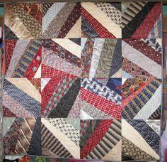 """Formal Dinner Night""  via Patchwork Art Quilts.  Silk neck tie patchwork art quilt for sale."
