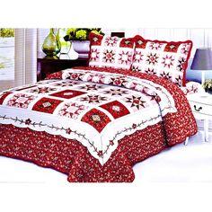 3PCS Quilt Set Red White Multi-Color Modern Design Quilt Bedspread Bed Coverlet