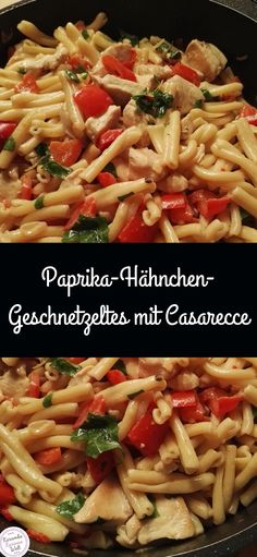Paprika-Hähnchen-Geschnetzeltes mit Casarecce - Kochen mit Karambakarina's Welt - How about paprika-chicken-sliced with casarecce? The recipe is simple, quick and really tasty. A great pasta dish and the perfect after-work kitchen for the whole family. Chicken Recipes Dairy Free, Healthy Chicken Recipes, Pasta Recipes, Crockpot Recipes, Salad Recipes, Baked Chicken Marinade, Chicken Slices, Work Meals, Pasta Dishes