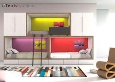 Dormitorio juvenil: Litera tren 3 camas, armarios y cajones inferiores | Combinación mixta de literas base RUBBIK con tira de Leds y traseras de color destacado y bolsas mu