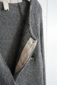 Pocket cardigan by Chellis Wilson. The cotton trim is such a nice detail.