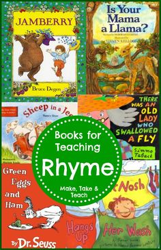 Books for teaching rhyme. Free handouts too!
