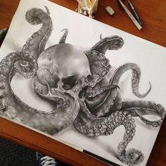 whatjanesaw:SKULL OCTOPUS by Jamie Watson.HisInstagram