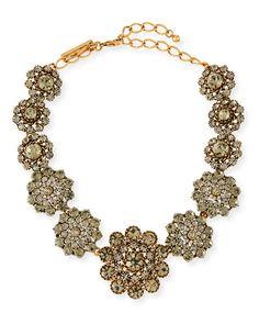 Y2TCL Oscar de la Renta Floral Crystal Statement Necklace