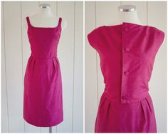 1950s Vintage Fuchsia Suit Dress with Matching Double Reversible Jacket by Maybelle Crews - Size Medium by SweetLoveofMinecom on Etsy
