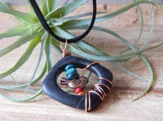 Black Agate Pendant Necklace Wire Wrapped by UniqueChiqueJewelry
