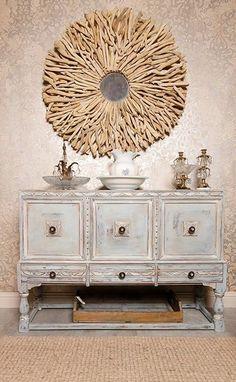 Allover damask stencil on walls and Chalk Paint® decorative paint on furniture by WonderFaux Studio Houston | Royal Design Studio Stencils