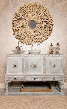 Allover damask stencil on walls and Chalk Paint® decorative paint on furniture by WonderFaux Studio Houston | Royal Design Studio Stencils