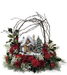 Christmas Candle Decorations, Christmas Flower Arrangements, Christmas Lanterns, Christmas Fireplace, Holiday Centerpieces, Christmas Flowers, Christmas Art, Christmas Wreaths, Thomas Kinkade Christmas