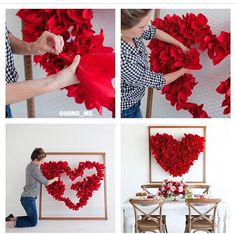 DIY CRAFTS & MORE What you need: wood poles, chicken wire, red paper napkins, nail gun Valentines Day Decorations, Valentine Day Crafts, Birthday Decorations, Wedding Decorations, Saint Valentin Diy, Valentines Bricolage, Red Paper, Pinterest Diy, Valentine's Day Diy