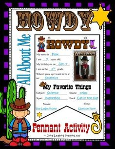This is a one page All About Me western theme pennant banner perfect for the beginning of the school year or back to school activity. A cowboy and cowgirl version is included. Once completed string together and hang around the classroom or in the hallway.