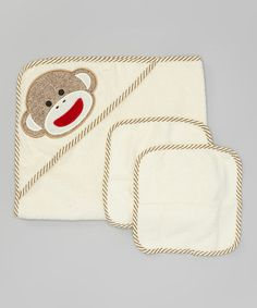 Love this White & Gray Sock Monkey Hooded Towel Set by Baby Starters on #zulily! #zulilyfinds