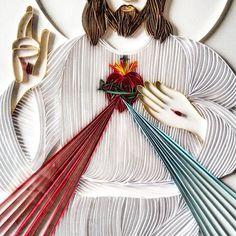 "140 Likes, 6 Comments - Cristiana Raulino (@cristianaraulino) on Instagram: """"Jesus, eu confio em Vós."" #domingodadivinamisericórdia #divinamisericordia #quilling…"""